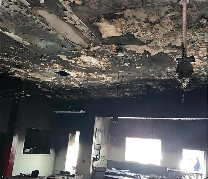 Ceiling damaged by fire